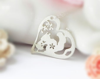 Squirrel Necklace, Heart, Sterling Silver