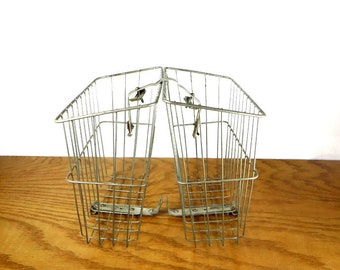Androck Bicycle Basket 1950's Double Metal Saddlebag Wire Bike Baskets Wire Baskets For Farmhouse Decor