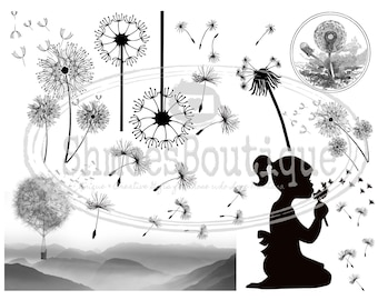 Waterslide Decals for use on Kiln Fired Pottery, Fused Glass or Enamel - Dandelion Dandelions