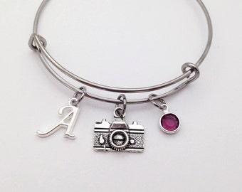 Personalized Camera Bracelet, Photography Jewelry, Adjustable Bangle Bracelet, Photography Gifts, Photographer Gift, Gift for Photographer