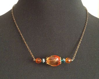 Vintage chain necklace, bronze and faceted beads
