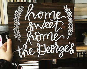 Home Sweet Home Hand Painted Wood Sign 11x14