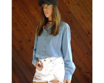 Light Denim Button Down Boyfriend Shirt - Vintage 90s - M