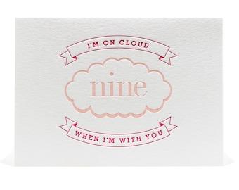 Letterpress Anniversary Card, Love Card, Valentine Letterpress Card, I Love You, Cloud Nine, Happy, Engagement Card