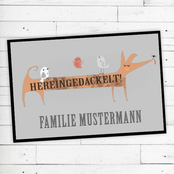 "Floor Mat ""Hereingedackelt"" with name or text"