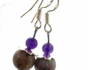 Sugar plum earrings. Purple charoite amethyst gemstones. Sterling silver flexi wires.