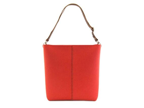 Large felt SHOULDER BAG with leather strap / orange bag / tote bag / felt tote / wool felt / made in Italy