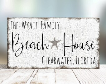 Personalized Large Family Name Beach House Sign, Beach Sign, Beach House Decor, Cottage Chic Beach Decor