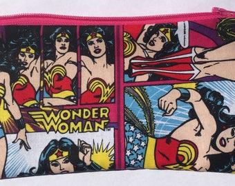 Wonder Woman Zipper Pouch - Superhero, Girl Power.