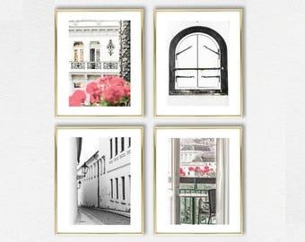 Black and White Decor Art // Prague // Neutral Decor Art Set of 4 Prints // White Wall Art // Prague Set of 4 Art Decor Prints White