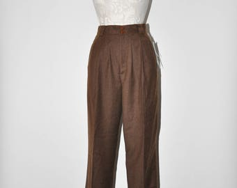 90s pleated wool trousers / 1990s tapered pants / chocolate brown pants / vintage high waist pants