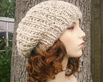 Knit Hat Oatmeal Womens Hat Slouchy Beanie - Soho Beret in Oatmeal Knit Hat - Oatmeal Hat Oatmeal Beanie Oatmeal Beret Womens Accessories