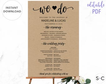 Rustic Wedding Welcome Sign, Wedding Program Sign, Rustic Wedding Program, Printable Wedding Welcome Sign, We Do