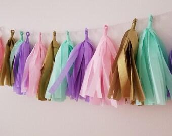Mint, pink, lavender and gold tassel garland. Tissue garland. Carousel party, carousel birthday, baby shower, bridal shower, nursery decor.