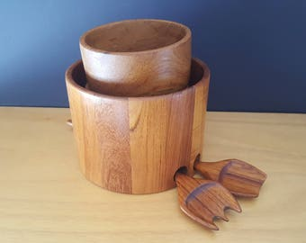 Staved Teak Salad for Two - Bowl, Small Bowls, Tongs - Danish Design - Goodwood - Mid Century Modern