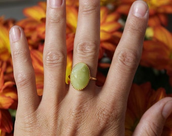 Lime green Lost & Found Ring in gold-plated silver - ready to ship size 6