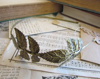2 Bronze Headbands with Leaves - Ships IMMEDIATELY from California - HF01