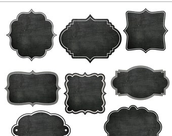 8 Chalkboard Frames Clipart - For Personal and Commercial Use - INSTANT DOWNLOAD