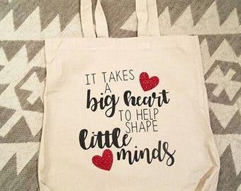 Canvas Tote Bag, Teacher appreciation, teacher big heart, Reusable shopping bag, market bag, tote bag, Big heart little minds