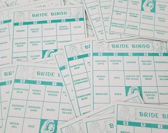 18 Vintage Turquoise Bride Bingo Cards for altered art 1970s