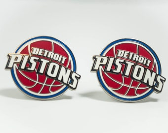 Detroit Pistons Cuff Links -- FREE SHIPPING with USPS First Class Domestic Mail