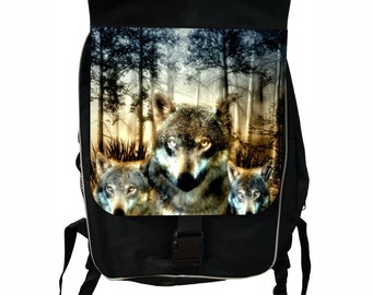 Wolves in the Wild Large Black School Backpack