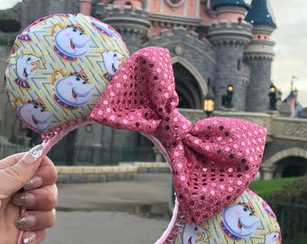 The Teapot & Teacup - Disney Mrs Potts and Chip Minnie Mouse Ears. Beauty and the Beast Inspired Handmade Ears.