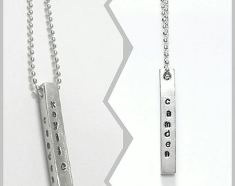 4- Sided Bar Necklace - Customizable Gold Silver