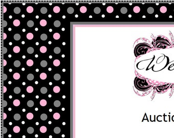 Black Pink White Gray Polka Dots Auction Listing Template