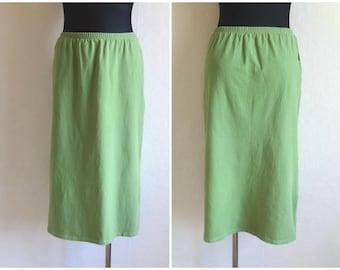 MARIMEKKO Green Midi Skirt Cotton Jersey Elastic  Waist Comfortable Finnish Clothing Marimekko Women's Clothing Made in Finland