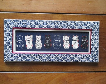 Cats - Maneki Neko - lucky fabric Panel