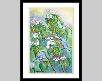 Bluebirds Watercolor Painting Print, White Dogwood Tree, Large, blue, green, white