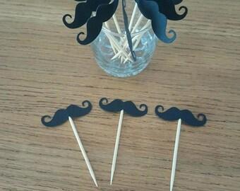 Pic apéritif, cupcake topper, pic décoratif pour gâteau / plat -Moustache noir LOT DE 10  - décoration baptême, communion, anniversaire