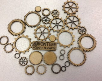 Steampunk Inspired Lasercut 3mm MDF Cogs - pack of 26