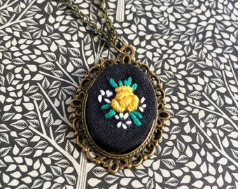 Small yellow embroidered rose necklace