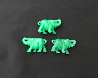 Lot of three jade green plastic elephant carnival prize good luck lucky charm new old stock