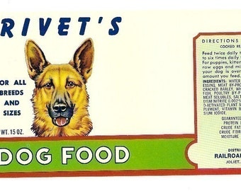 3 1950s plus Different CAT And DOG FOOD Labels