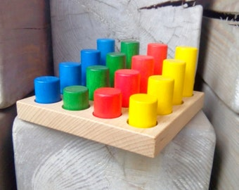 Rainbow Cylinders set 16, Montessori wooden educational puzzle, Color sorter, Shape Sorter, Waldorf toy, Montessori toddler toy,Educational