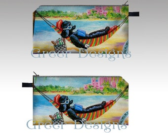 Black Poodle Hawaii Beach Hammock Whimsical Cosmetic Makeup Pencil Case Bag pouch 7x4""
