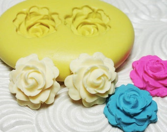 ROSE ROSETTE DUO Mold Silicone Flexible Push Mold for Resin Wax Fondant Clay Fimo Ice 972