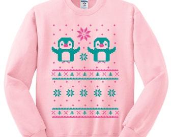 Chrimstas Penguin Crewneck Sweatshirt - Ugly Christmas Sweater - Unisex Sizes S, M, L, XL  - TWO COLORS