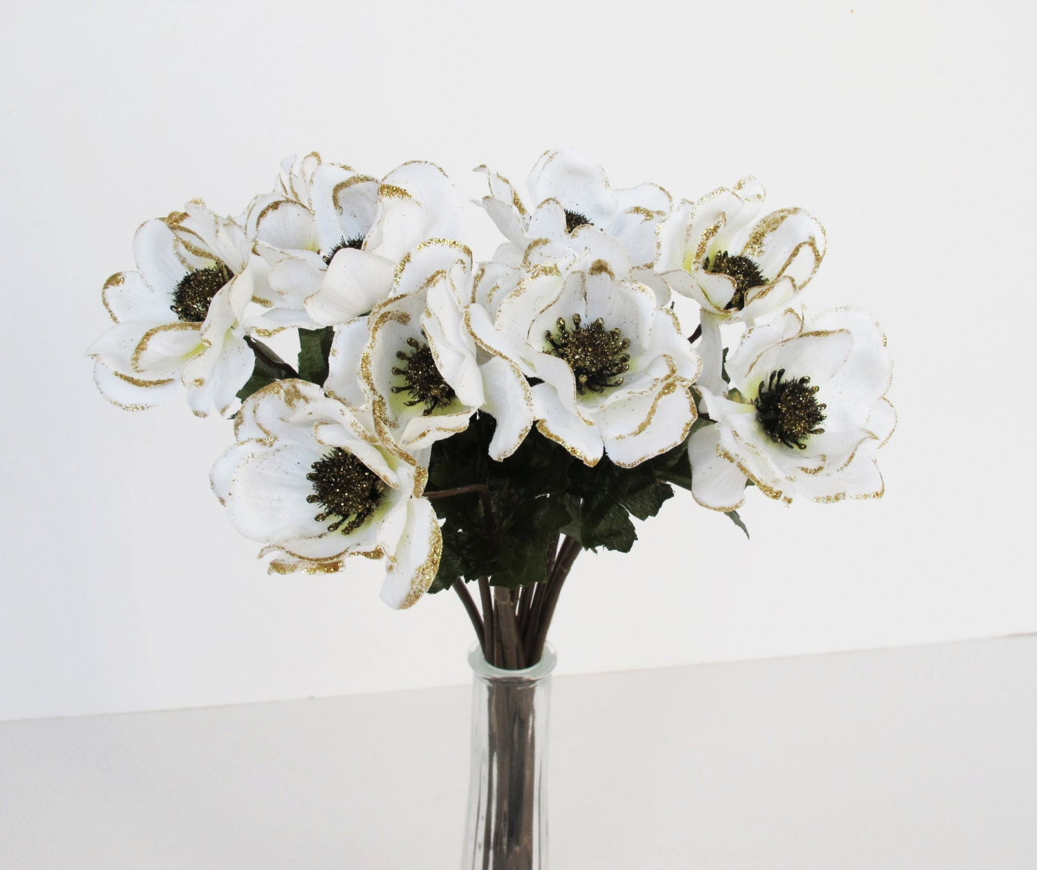 10 Silk Poppies Anemones Shiny Glitter Artificial Flowers White Gold