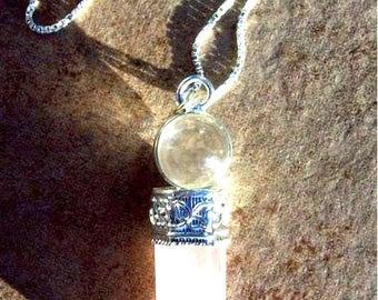 "LOVE STONE Rose quartz & quartz crystal necklace ""Beauty and Light"", Sterling silver rose quartz necklace, love jewelry, love"