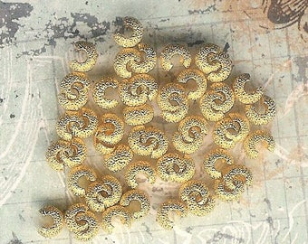 4mm Gold Plated Stardust Crimp Cover, 144 piece pack, Gold Crimp Cover, Crimp Cover, Knot Cover, Stardust Crimp Cover, Julie's Bead Store