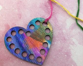 SALE! Heart Thread Organizer / Floss Organizer Wood / Thread Organizer / Floss Keeper / Thread Keeper / Thread Holder / Cross Stitch