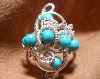 Turquoise Ring ~ Silver Turquoise Ring ~ Wire Wrapped Turquoise Ring ~ Wirewrapped Bead Ring ~ Turquoise Bead Ring ~ Wire Ring ~ Size 7