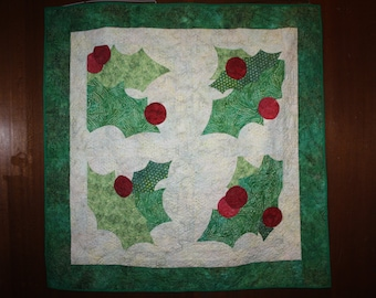 Holly batik Quilted Wall Hanging Table Topper