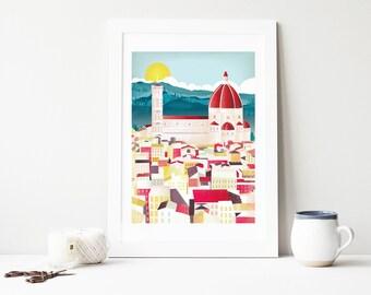 Florence Print, Florence Art Print Posters Wall Art, Tuscany Tuscan Art Print Prints Skyline City Poster, Travel Nursery Art. Style: FLPP1