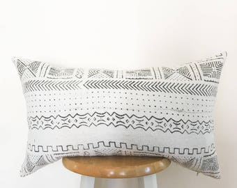 Authentic African Textile Pillow Cover//Mudcloth LUMBAR