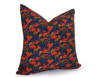 Boho Pillows, 20x20 Pillow Cover, Bohemian Pillow, Retro Pillows, Purple, Orange, Teal, Eclectic Pillow, Retro Floral Pillow, Boho Cushion